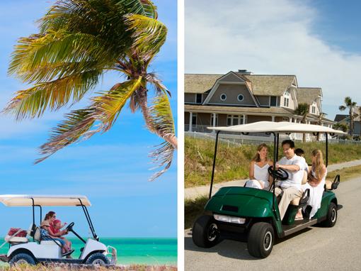 Destin family driving golf carts