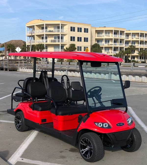 Red 6 Seat Electric Street Legal Golf Cart