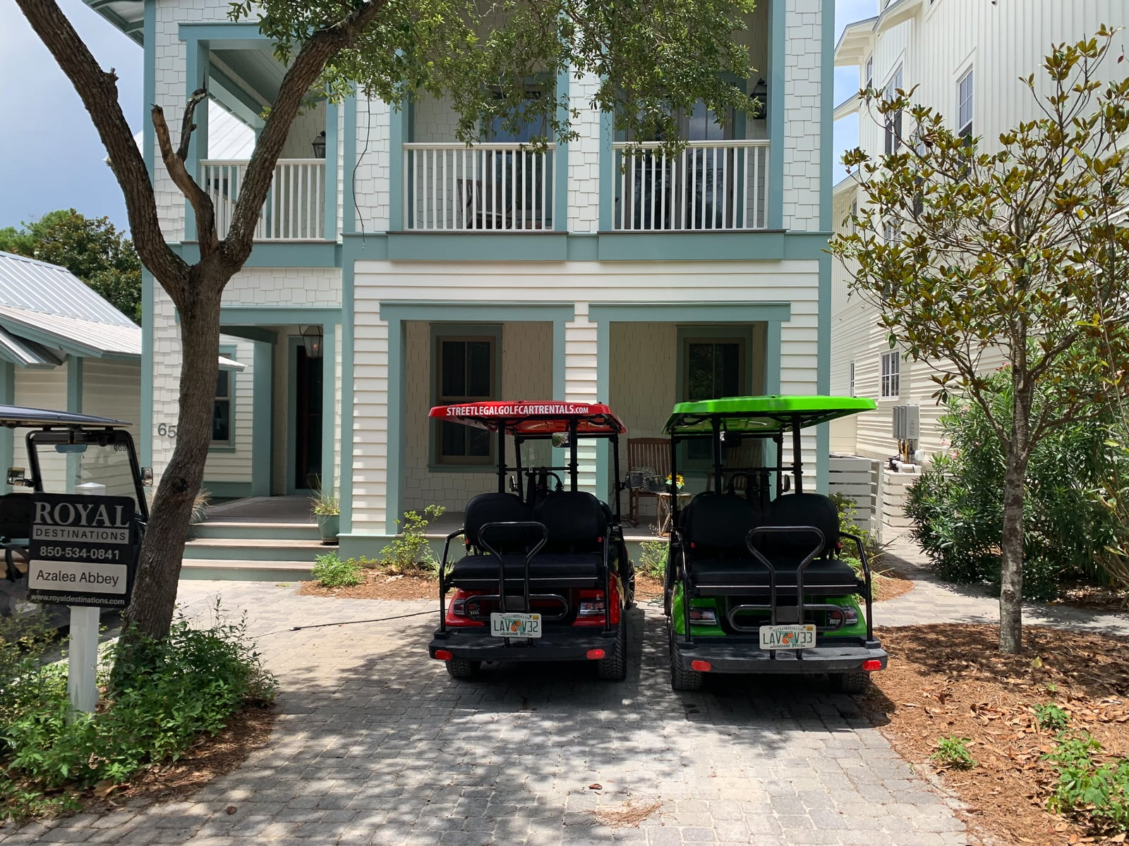Green and Red Golf Carts in Santa Rosa Beach Home
