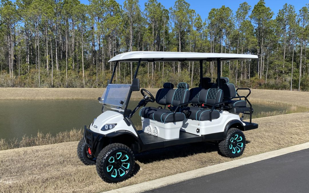 New 2021 Premium Icon 6 Passenger Golf Cart Rentals with Wet Sounds Audio and Premium Wheels