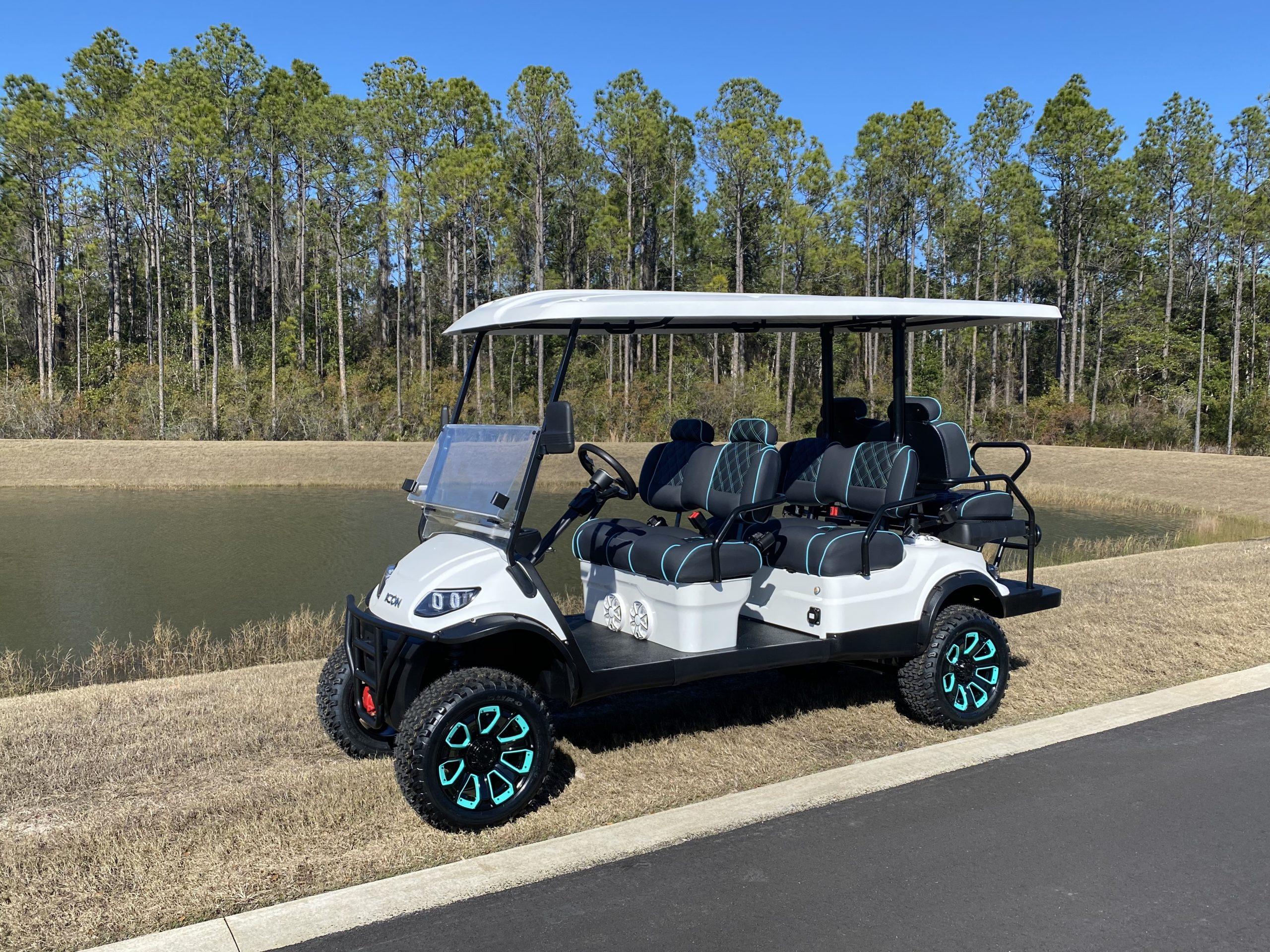 Custom 2021 Icon Premium Golf Cart Rental with Wet Sounds Premium Audio